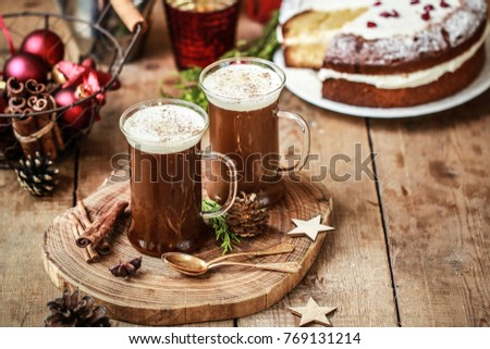 Romantic decoration table with iced coffee latte and red rose Stock photo © nalinratphi