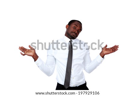 Portrait of a african man with a kind of uncomprehending opened his arms to the sides Stock photo © deandrobot