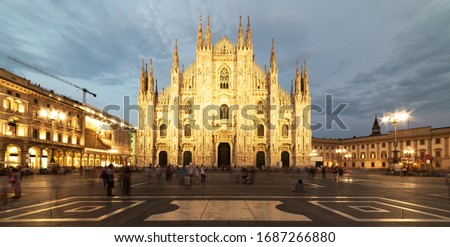 Panorama of Duomo di Milano (Milan Cathedral) and Piazza del Duo Stock photo © anshar