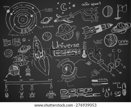 Univerzum infografika alkotóelem gyűjtemény kézzel rajzolt firkák Stock fotó © DavidArts