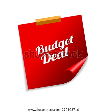 budget deal red sticky notes vector icon design stock photo © rizwanali3d
