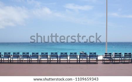 Kék székek promenád szép kilátás szemben Stock fotó © nito