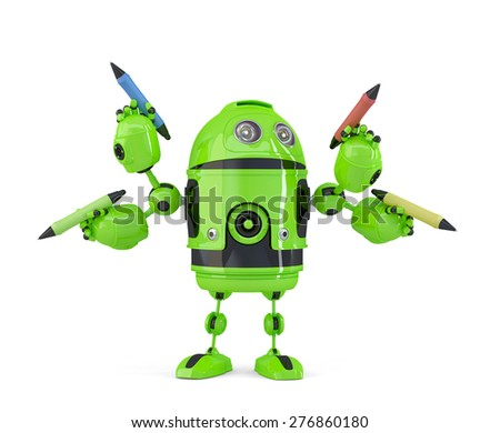 Green four-arm robot with pencils. Multitasking concept. Isolated. Contains clipping path. 3d illust Stock photo © Kirill_M