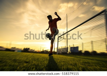 Soccer game in an outdoor stadium. A kick at the opposing team g Stock photo © Morphart