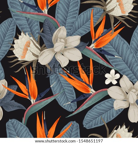 Vector illustration floral pattern with magnolia  dark background. floral greeting card stock photo © wywenka