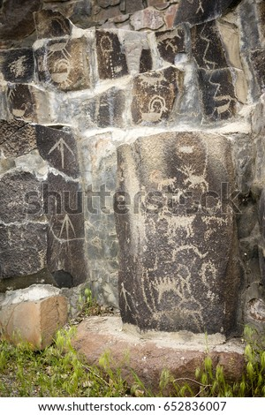 Ancient Petroglyphs Cliff Drawings Ginko Petrified Forest Washin Stock photo © cboswell