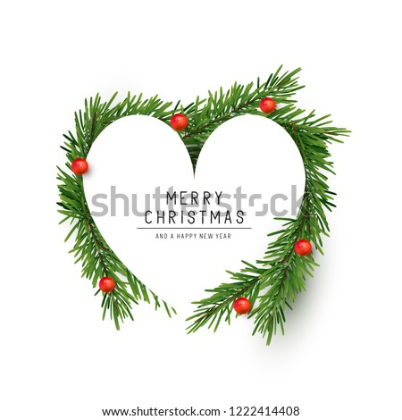 I love Christmas. Heart and Christmas tree. Festive fir-tree wit Stock photo © MaryValery