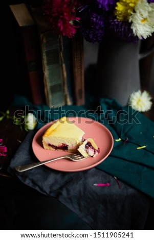 peach cheese cake or pie with fresh blueberry on wooden rustic background top view closeup stock photo © yelenayemchuk