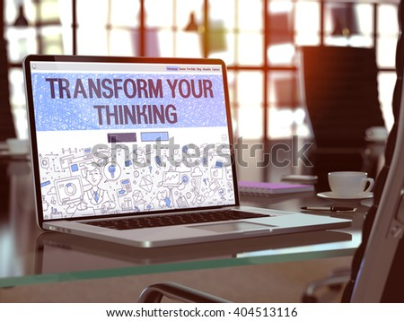 transform your thinking on laptop in modern workplace background stock photo © tashatuvango