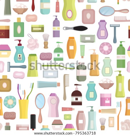 Beauty care related set background. Hygiene symbol seamless patt Stock photo © Terriana