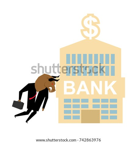 Bull and bank building. businessman attacked bank. Vector illust Stock photo © MaryValery