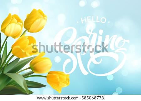 Bonjour printemps nature design belle tulipe Photo stock © articular