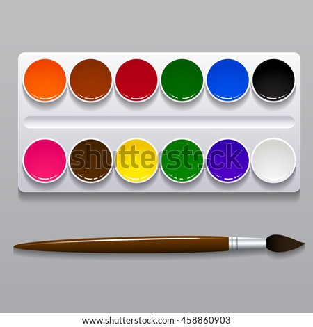 Design set of bright watercolor paints in box with paint brush on transparent background. Colorful v Stock photo © articular