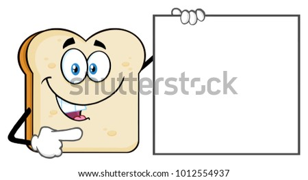 Talking Bread Slice Cartoon Mascot Character Pointing To A Sign Gluten Free Stock photo © hittoon