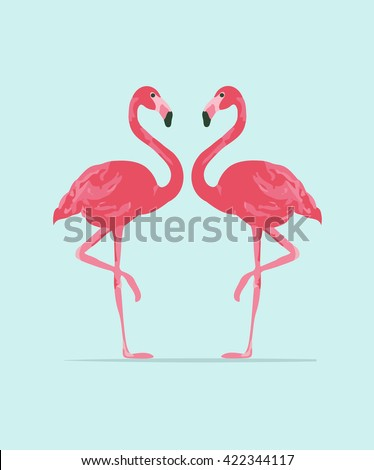 Red and pink flamingo vector illustration. Cool exotic bird walking decorative design elements colle Stock photo © MarySan