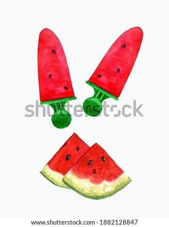 Suculento peça melancia vara forma rosto sorridente Foto stock © artjazz