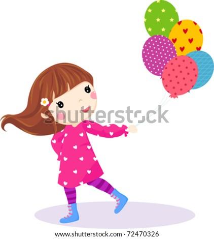çocuklar · balon · gökyüzü · örnek · kız · mutlu - stok fotoğraf © pikepicture