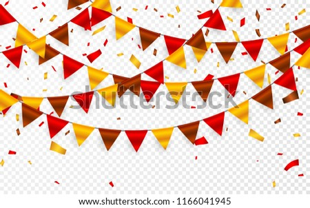 thanksgiving day flags garland on transparent background garlands of red brown yellow flags and fo stock photo © olehsvetiukha