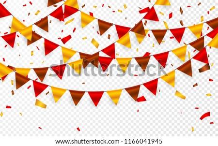 Foto d'archivio: Ringraziamento · giorno · bandiere · ghirlanda · trasparente · rosso