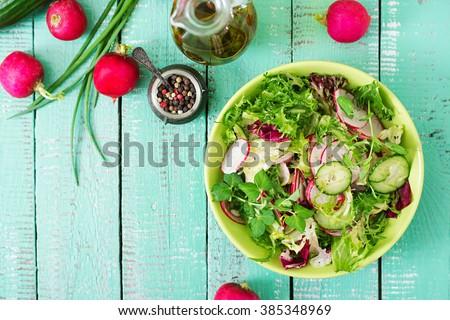 salade · radijs · komkommer · gezondheid · olie - stockfoto © artjazz