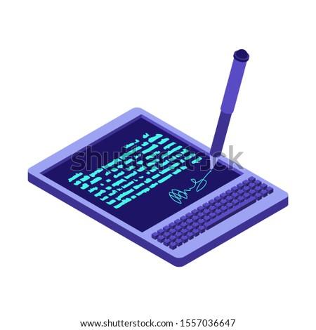электронных подписи таблетка документа изометрический стиль Сток-фото © MaryValery
