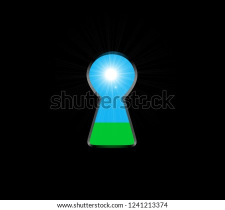 Keyhole with light inside. Ecological concept, natural green grass and sky. Vector Stock photo © m_pavlov
