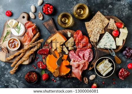 Italiano antipasti vino aperitivos establecer azul Foto stock © Illia