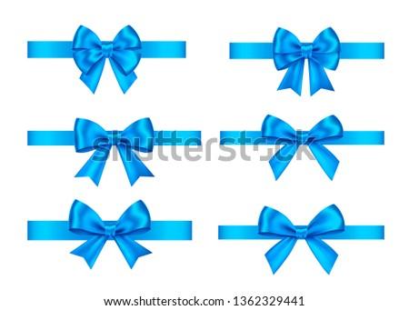Realista azul arco elemento decoración regalos Foto stock © olehsvetiukha