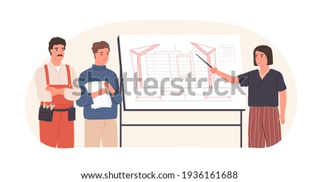Man and woman present a project. Vector illustration with cartoon characters. Team building. Leaders Stock photo © bonnie_cocos