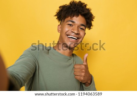 Portre memnun Afrika adam şık afro Stok fotoğraf © deandrobot