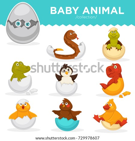 Сток-фото: Happy Baby Penguin Cartoon Character Hatching From An Egg With Hearts