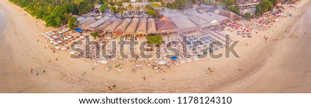 photo from the air from the drone balinese jimbaran beach famous for its perfect sea food restaura stock photo © galitskaya