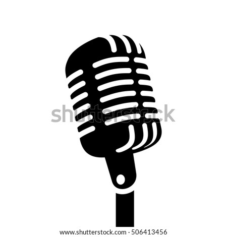 Retro Metal Microphone With Stand Vector. Chrome. Music Icon. Vintage Concert. Audio Communication.  Stock photo © pikepicture