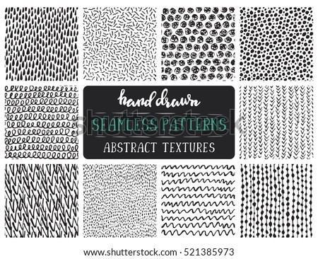 Set of vector seamless patterns with hand drawn abstract shapes. Spotted and textured figures. Uniqu Stock photo © user_10144511