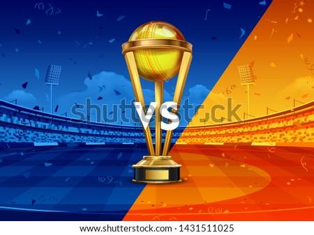 Realistyczny złoty kubek trofeum krykieta sportu Zdjęcia stock © vectomart