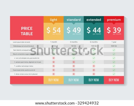 table template comparison of services web pricing table template for business plan vector illustr foto d'archivio © kyryloff