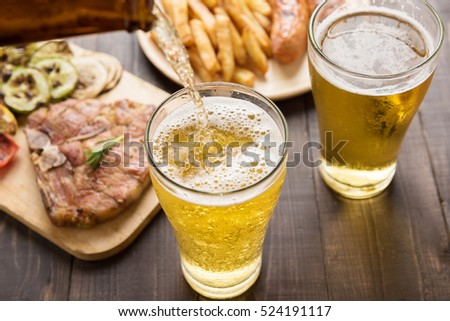 ホット 犬 ガラス ビール フライドポテト 木板 ストックフォト © dla4