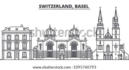 Basel city silhouette, Switzerland - old town skyline, city pano Stock photo © Winner