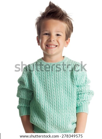 Happy five year old European boy posing over white studio background Stock photo © Lopolo