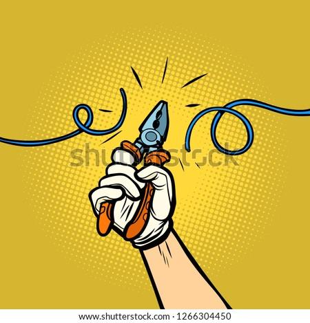 Electrician Hand Cutting Electrical Wire Cartoon Retro Drawing Stock photo © patrimonio