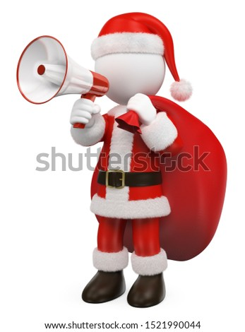 3d white people santa claus talking on a white and red megaphon stock photo © texelart