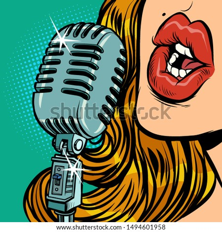 Kadın bağbozumu Retro mikrofon müzik konser Stok fotoğraf © rogistok
