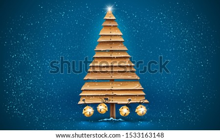 christmas tree for holiday old wooden planks golden jingle bells stock photo © loopall