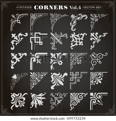 Vector set of decorative calligraphic corner borders and frames Stock photo © blue-pen