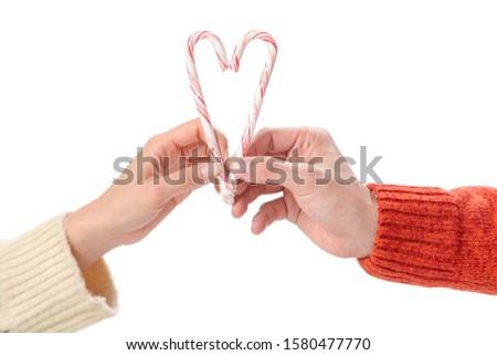 Vrouw christmas snoep vorm hart Stockfoto © lovleah