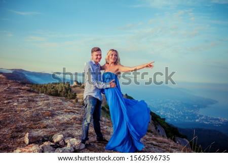çift · sevmek · mavi · üst · dağ · bütün - stok fotoğraf © ElenaBatkova
