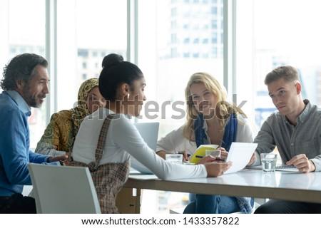 Elöl kilátás sokoldalú üzlet cégvezetők megbeszél Stock fotó © wavebreak_media