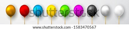 Realistic white, red, blue, black, gold and gray balloons on white background with shadow. Shine hel Stock photo © olehsvetiukha
