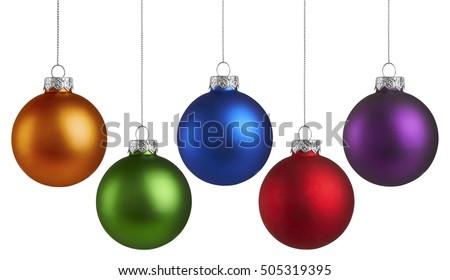 Orange christmas balls isolated on white background. Photorealistic high quality vector set of chris Stock photo © ukasz_hampel
