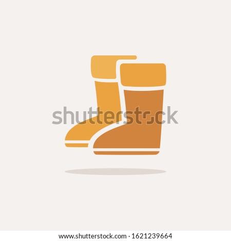 Deszcz buty ikona cień beżowy jesienią Zdjęcia stock © Imaagio